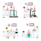 ECG测试或锻炼压力测试心脏病的在踏车 免版税库存照片