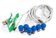 ECG电极和缆绳 免版税库存照片