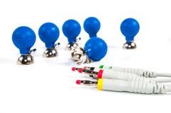ECG电极和缆绳 免版税库存图片