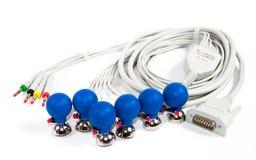 ECG电极和缆绳 库存图片