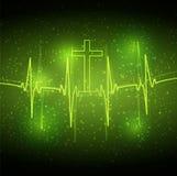 ECG-övervakninghjärta och kors Royaltyfri Bild
