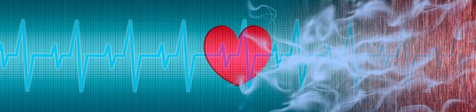 ECG, καρδιά, καπνός τσιγάρων απεικόνιση αποθεμάτων