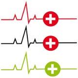 ECG с крестом на белой предпосылке иллюстрация вектора