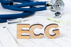 ECG Acronym or abbreviation to medical dignostics of electrocardiogram - cardiac test that measures electrical impulses in heart. Word ECG letters stands on Stock Photos