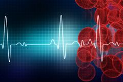 ECG with blood cells. Electrocardiography, medical and healthcare background Royalty Free Stock Photo