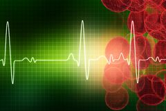 ECG with blood cells. Electrocardiography, medical and healthcare background Royalty Free Stock Images