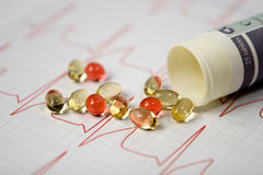 ECG Chart. Red and yellow pills on a white ECG chart Royalty Free Stock Photo