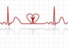ECG com homem e coração ilustração stock