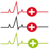 ECG with cross on white background. Vector illustration Royalty Free Stock Images