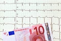 Ecg curve and ten € Royalty Free Stock Image