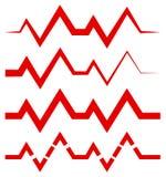 ECG & x28 EKG& x29  ή γενικός κτυπήστε, γραμμές ρυθμού με το ύφος 4 γραμμών Στοκ Εικόνες
