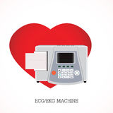 ECG or EKG machine with an integrated printer. ECG or EKG machine with an integrated printer and print-out and Screen shows three graphs on shaped heart Stock Photography
