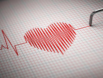ECG. Electrocardiogram and heart  beat shape. Royalty Free Stock Image