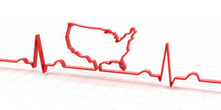 ECG, electrocardiogram in the shape of USA map Royalty Free Stock Images