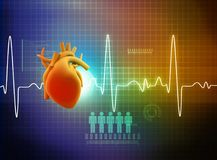 ECG Electrocardiography. Medical and healthcare background. 3d render Royalty Free Stock Photo