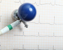 ECG electrode and chart. ECG electrode and ECG chart royalty free stock images