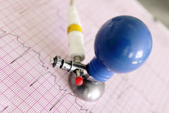 ECG electrode on fragment of electrocardiogram Royalty Free Stock Image