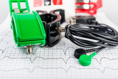 ECG electrodes on  electrocardiogram Stock Photography