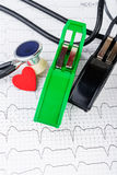 ECG electrodes on fragment of electrocardiogram Royalty Free Stock Images
