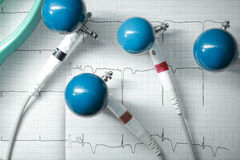 ECG-elektroder för mätning Arkivbild