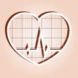 ECG en corazón dentro Fotos de archivo libres de regalías