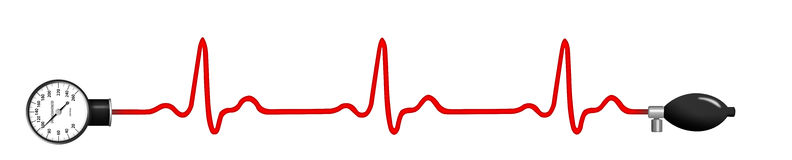 ECG graph with blood pressure gauge Royalty Free Stock Images