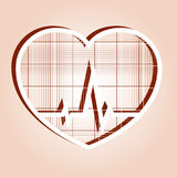 ECG in heart inside Royalty Free Stock Photos