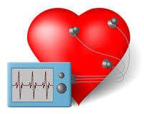 ECG heart monitor. Red heart and cardiac monitor -  ECG Stock Image