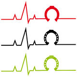 ECG with horse shoe on white background Stock Photo