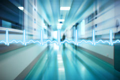 ECG line on the background of the corridor of the hospital medic Royalty Free Stock Images