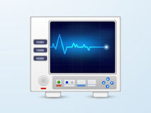 Ecg monitor for medical concept. Ecg monitor with heart beat lines on sky blue background for Health and Medical concept Royalty Free Stock Image
