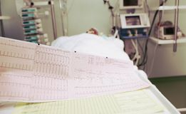ECG of the patient in serious condition in the ICU.  Stock Images