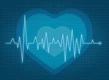ECG pulse. Heartbeat red line Stock Image