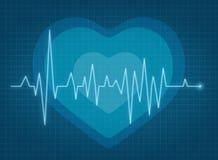 ECG pulse. Heartbeat red line stock illustration