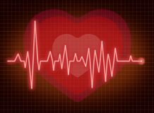 ECG pulse. Heartbeat symbol with red line Royalty Free Stock Photo