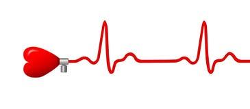 ECG pulse graph with heart shape. Elecktrocardiogram (ECG) pulse graph with heart shape Stock Image