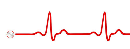 ECG pulse graph with stethoscope isolated. ECG pulse graph with stethoscoppe isolated on white Stock Photos