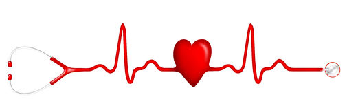 Free ECG Pulse Graph With Heart Shape And Stethoscope Royalty Free Stock Images - 76413779