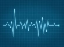 ECG pulse heartbeat blue line. ECG pulse heartbeat ble line monitor reading Royalty Free Stock Photo