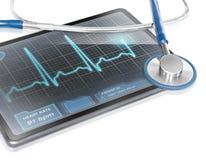 ECG recording. Modern tablet with screen displaying ECG Royalty Free Stock Photos