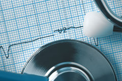 ECG and stethoscope macro, medical concept Royalty Free Stock Image