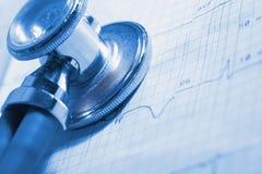 ECG and stethoscope medical examination Stock Photos