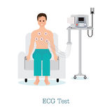 ECG Test or The Cardiac Test with patient. ECG Test or The Cardiac Test with patient, healthy and medical flat design vector illustration Royalty Free Stock Images