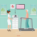 ECG Test or Exercise Stress Test for Heart Disease on treadmill Stock Photo
