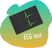 Ecg test. Vector color illustration of ecg test Royalty Free Stock Image