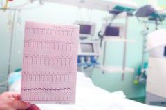 ECG w lekarki ręce na tle medyczny oddział Zdjęcia Royalty Free