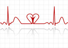 ECG z mężczyzna i sercem Obraz Royalty Free