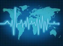蓝色ecg经济ekg健康映射世界 免版税库存照片
