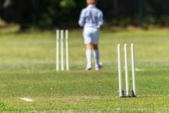 Echada Junior Bowler de los wicketes del grillo Foto de archivo
