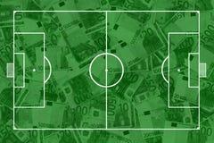 Echada y billetes de banco del fútbol Foto de archivo libre de regalías